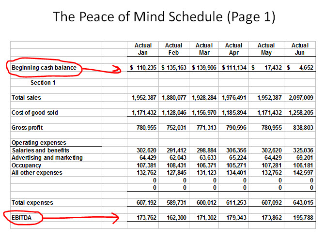Peace of Mind Cash Flow Example